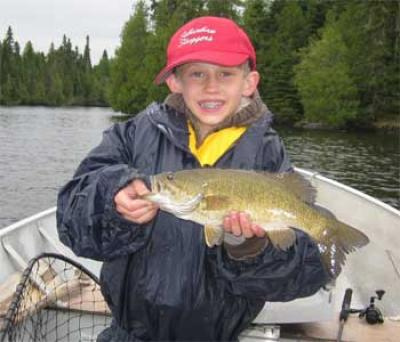 kids fishing for smallmouth bass in Canada