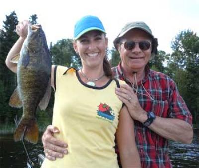 Ladies Fishing Trophy Smallmouth Bass in Ontario Canada