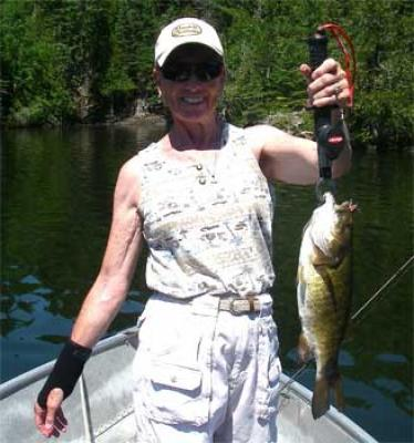 Women Fishing for BIG Smallmouth Bass in Canada Lodges