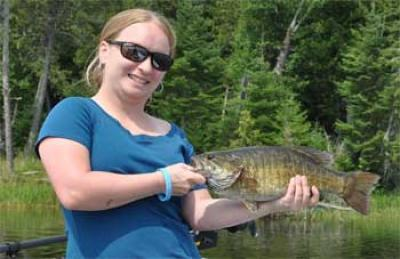 Trophy 20-inch Smallmouth Bass Fishing Fireside Lodge Canada