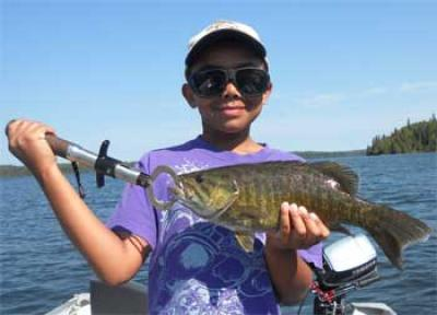 Kids Fishing BIG Smallmouth Bass at Fireside Lodge Canada
