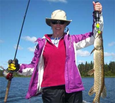 Fun Ladies Northern Pike Fishing in Canada at Fireside Lodge