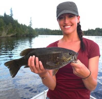 Cathy Ramsey Fishing at Fireside Lodge Canada for Trophy Smallmouth Bass