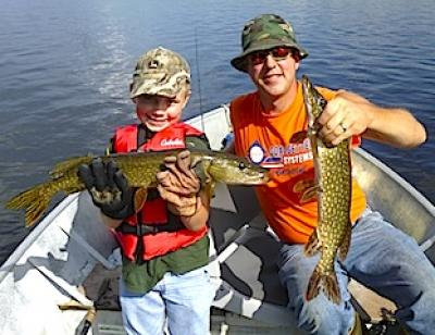 Father & Son Northern Pike Fishing at Fireside Lodge in Canada