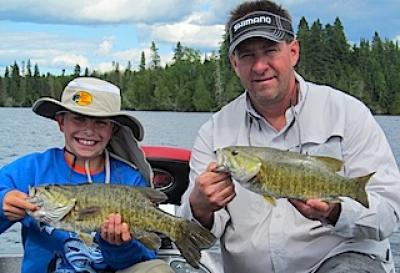Fun Father & Son Fishing Smallmouth Bass at Fireside Lodge in Canada