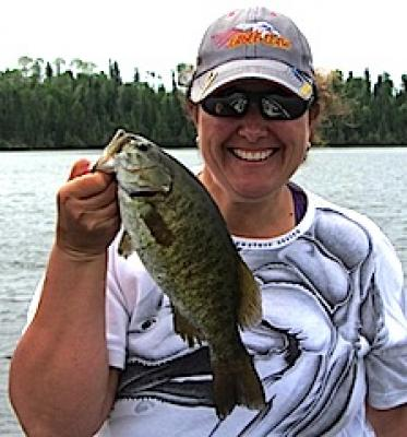 Women Smallmouth Bass Fishing at Fireside Lodge in Canada