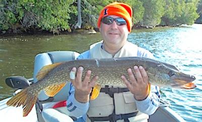 Northern Pike with BIg Girth Fishing at Fireside Lodge in Canada