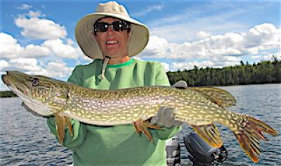 Big Northern Pike on Worm Fishing at Fireside Lodge in Canada