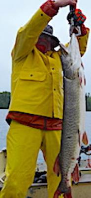 Trophy 43-inch Muskie Fishing at Fireside Lodge in Canada