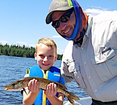 6-Year Old with Dad His 1st Pike Fishing at Fireside Lodge in Canada