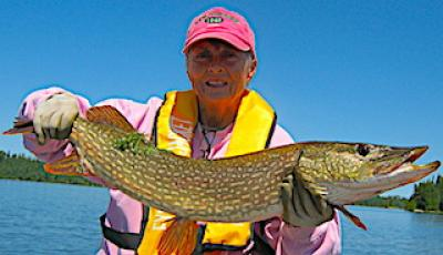 Fishing BIG Northern Pike in Pink at Fireside Lodge in Canada