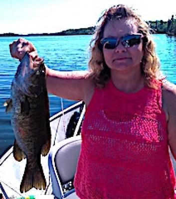 Ladies Trophy Smallmouth Bass Fishing at Fireside Lodge in Canada