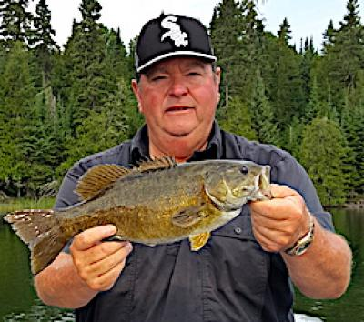 Sox Fan Trophy Smallmouth Bass Fishing at Fireside Lodge in Canada