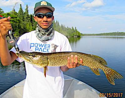 Great Northern Pike With Grandpa Fishing at Fireside Lodge in Canada