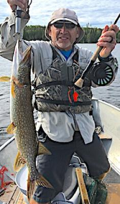 1st Time Fly-Fishing BIG Northern Pike at Fireside Lodge in Ontario Canada