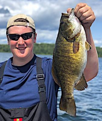 Trophy Smallmouth Bass With Huge Belly Fishing in Canada