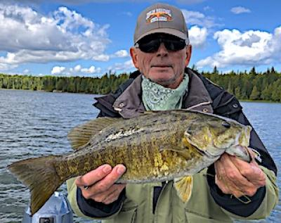 Fishing Soft Plastic Catch Trophy Smallmouth Bass in Ontario Canada