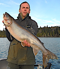 Huge Lake Trout Fishing by Tim Stewart Fishing at Fireside Lodge in Canada