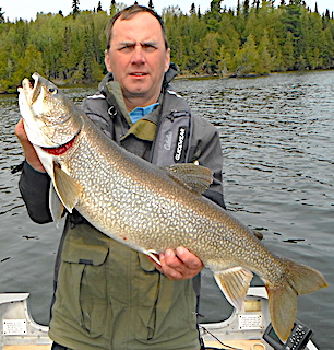 Super Large Trophy Lake Trout Fishing at Fireside Lodge by Tim