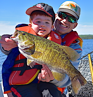 Fireside Lodge Master Anglers Award Trophy Smallmouth Bass Fishing by Joe at 5 years Old