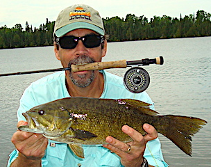 Amazing Fly Fishing for Trophy Smallmouth  Bass by Bill at Fireside Lodge in Canada