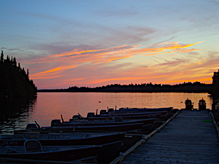 Boat Dock Sunset at Fireside Lodge in Ontario Canada
