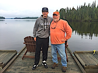Grandfather Lloyd and Grandson Cole Fishing at Fireside Lodge in Canada