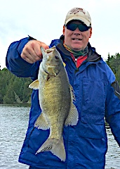 Super BIG Smallmouth Bass Fishing by Jeff at Fireside Lodge in Canada