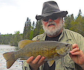 Trophy Smallmouth Bass Fishing by John at Fireside Lodge in Canada