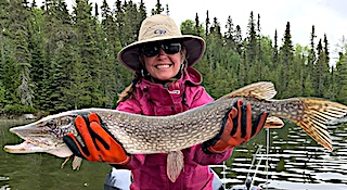 1st Time Northern Pike Fishing by Tracy at Fireside Lodge in Canada