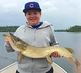 BIG Northern Pike by Cole While Fishing at Fireside Lodge
