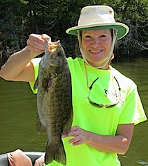 Trophy Top-Water Smallmouth Bass by Linda Fishing at Fireside Lodge