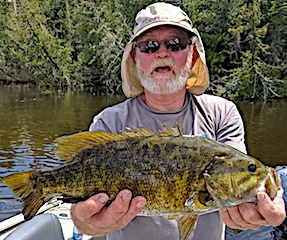 Massive Trophy Smallmouth Bass Fishing by Al Erwin at Fireside Lodge