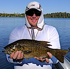 Super BIG Trophy Smallmouth Bass Fishing at Fireside Lodge by Allan in Canada