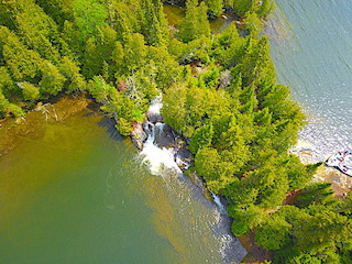 Birds Eye View of Twin Falls at Fireside Lodge in Ontario Canada