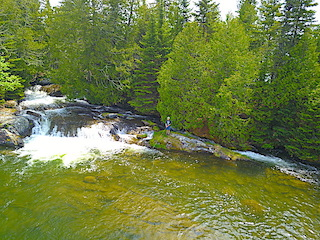 Fishing at Twin Falls at Fireside Lodge in Ontario Canada