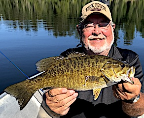 19.25-inch Trophy Smallmouth Bass by Jerry Lester at Fireside Lodge in Canada