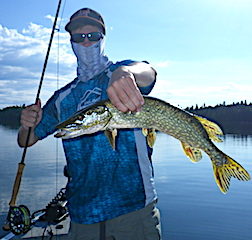 First Northern Pike Fly Fishing by Zach Klimes at Fireside Lodge in Canada