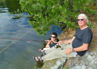 Father Son Fishing at Fireside Lodge Water Falls in Canada