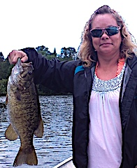 Trophy Smallmouth Bass Fishing by Tammy at Fireside Lodge in Canada