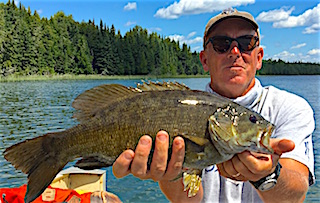 Trophy 20.5-inch Smallmouth Bass Fly-Fishing by Mike at Fireside Lodge