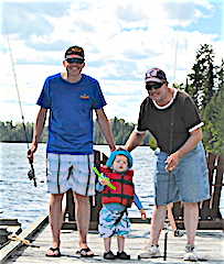 Three Generations Fishing at Fireside Lodge	 Father & son Paul & Tony Capecchi from Inver Grove Hgts & Woodbury, MN were back for their 2nd time this year making their 16th trip bringing for the 1st time Tony's wife Jody & there 2-year old son Joseph. 1st