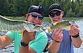 Crazy Double Catch Fishing at Fireside Lodge in Ontario Canada by Tom and Jeff
