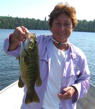 Women Fishing for Smallmouth Bass at Fireside Lodge Canada