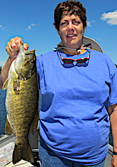 The Worm catching Trophy Smallmouth Bass Fishing by JoAnn in Canada