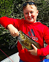 Brian With His First BIG Smallmouth Bass Fishing with Dad in Canada