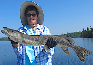 BIG Northern Pike Fishing for Smallmouth Bass by JoAnn in Canada