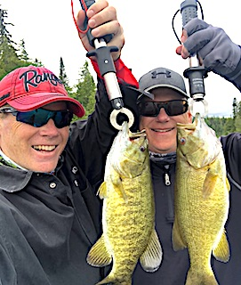 Brothers Trophy Smallmouth Bass Double Fishing at Fireside Lodge in Northwest Ontario Canada