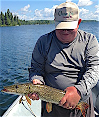 Don Heywood with one of Many Northern Pike Fishing at Fireside Lodge