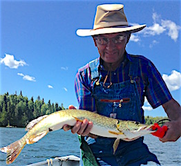 Jerry Kline Fishing for Northern Pike at Fireside Lodge